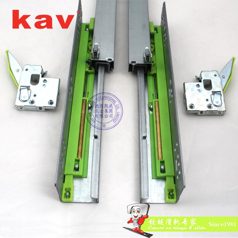 三节隐藏式带缓冲+反弹双功能抽屉滑轨 铁缸 883BHF-1