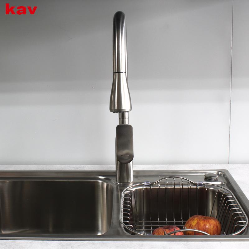 kav抽拉式冷热水龙头厨房伸缩可旋转洗衣台洗碗池水槽家用水龙头
