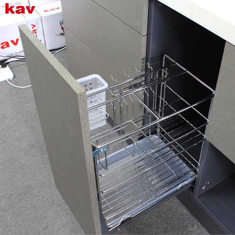 kav厨房橱柜调味拉篮不锈钢抽屉式拉篮缓冲置物架刀架调味篮内置 BB331316