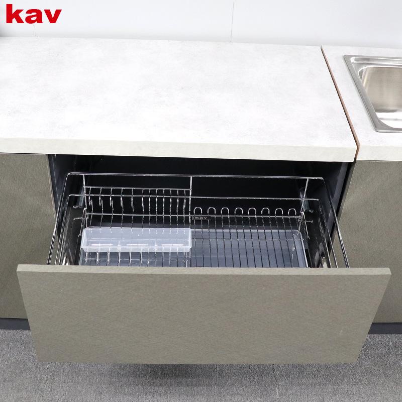 kav拉篮厨房橱柜201不锈钢双三层抽屉式碗碟收纳架地柜内置碗篮 BB3013